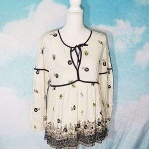 Lucky Brand Peasant Blouse Tie Front Hem Border